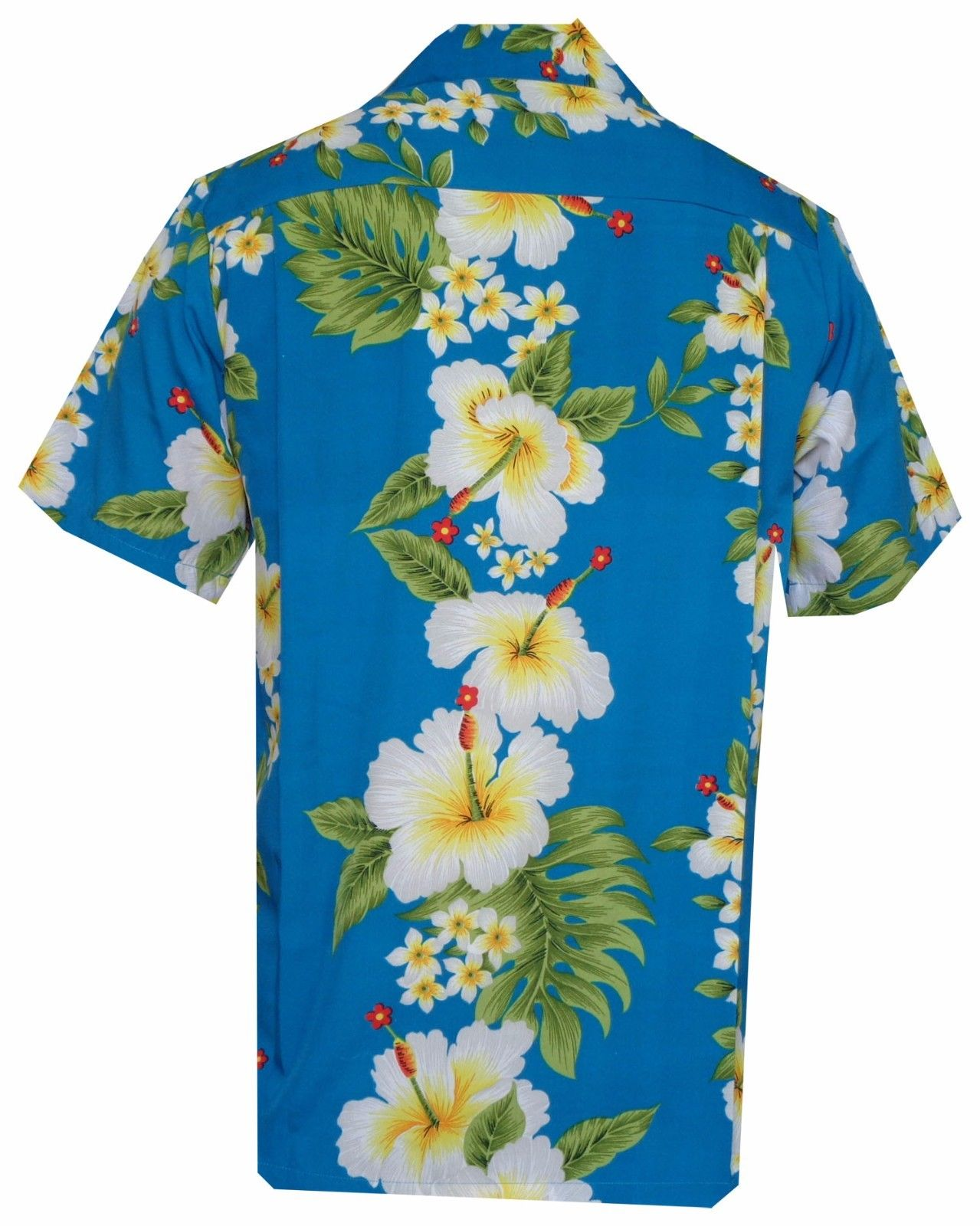 Hawaiian-Shirts-Mens-Hibiscus-Flower-Print-Beach-Party-Aloha thumbnail 4
