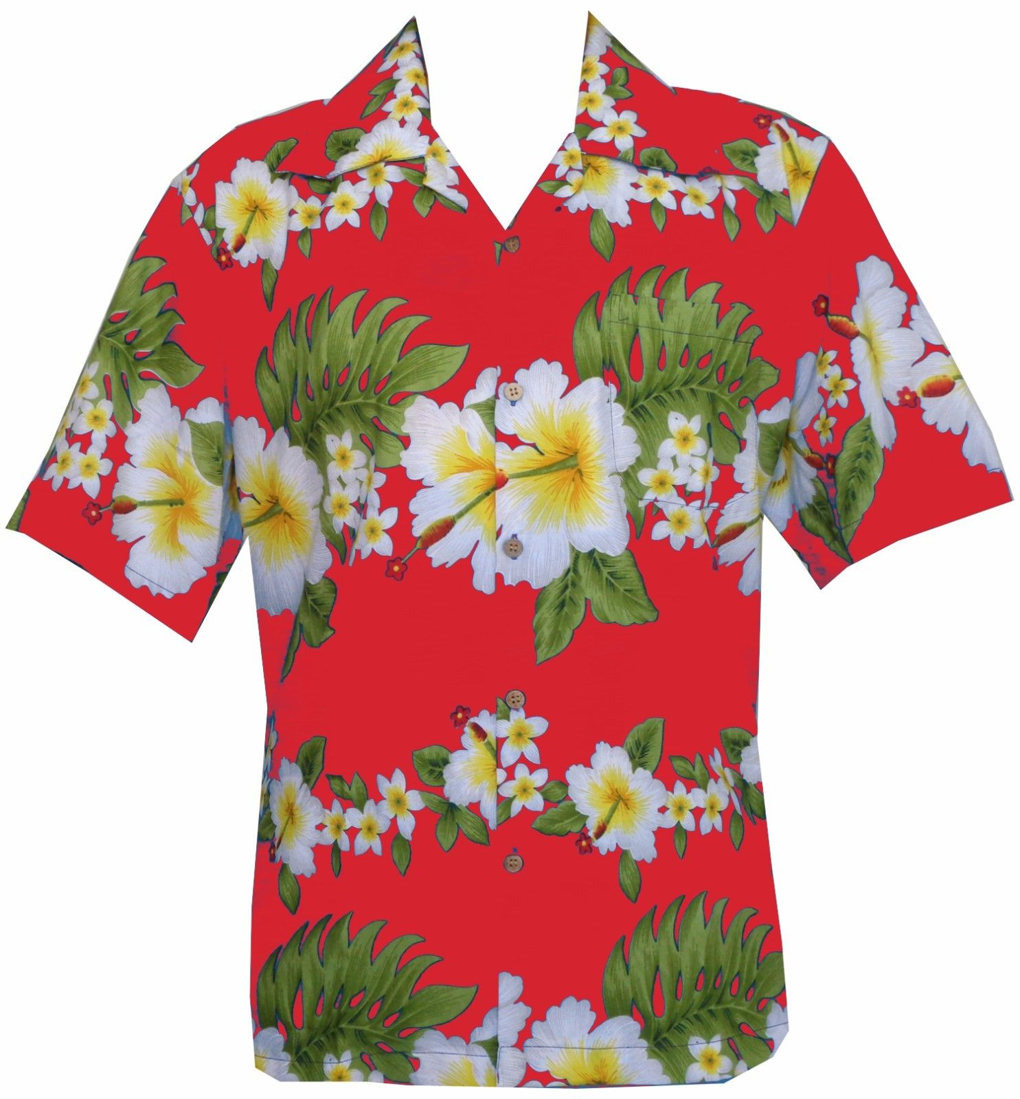 Hawaiian Shirt Hibiscus Floral Print Aloha Party 100 Polyester 2xl
