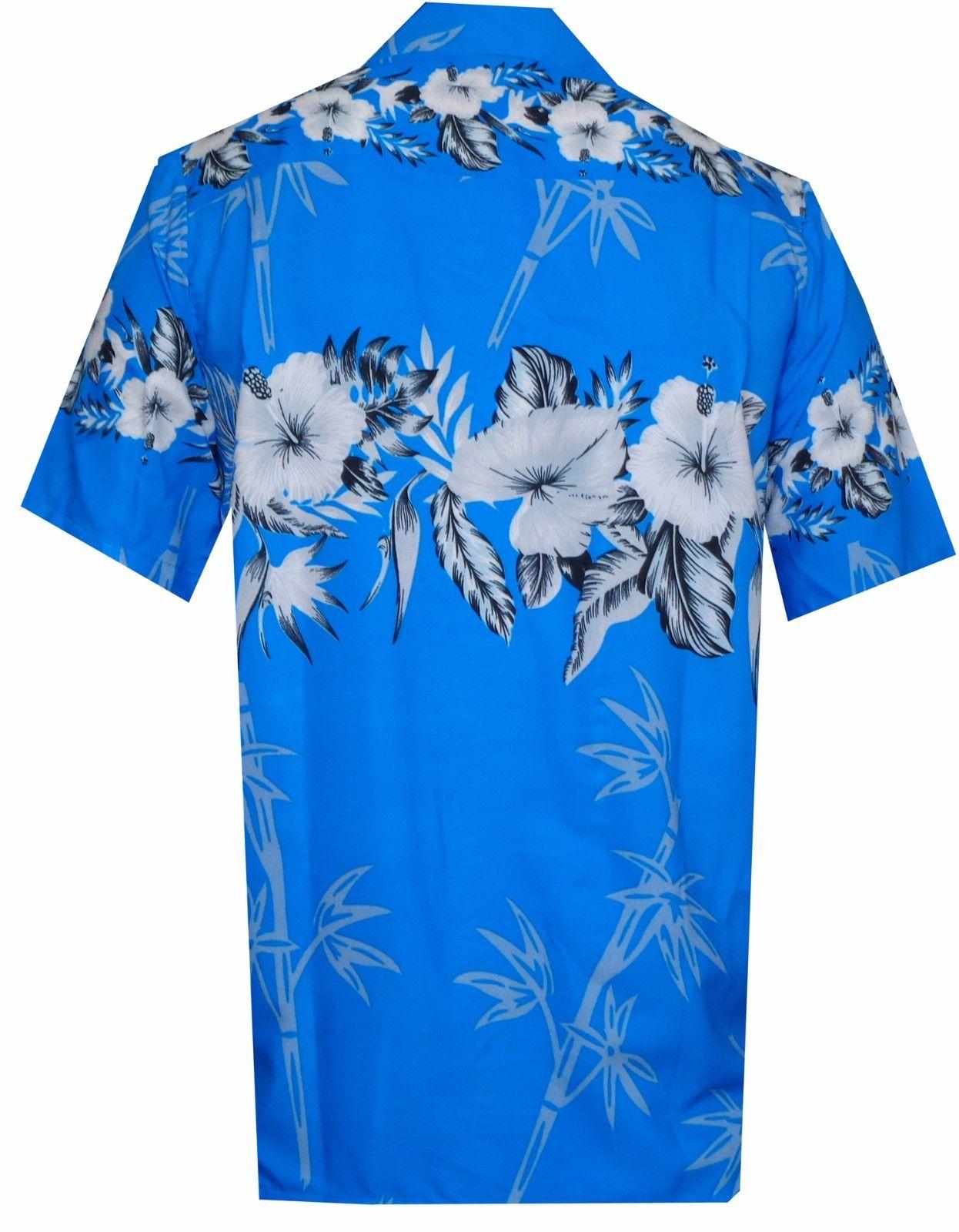 Hawaiian-Shirts-Mens-Bamboo-Tree-Print-Beach-Aloha-Party-Holiday thumbnail 7