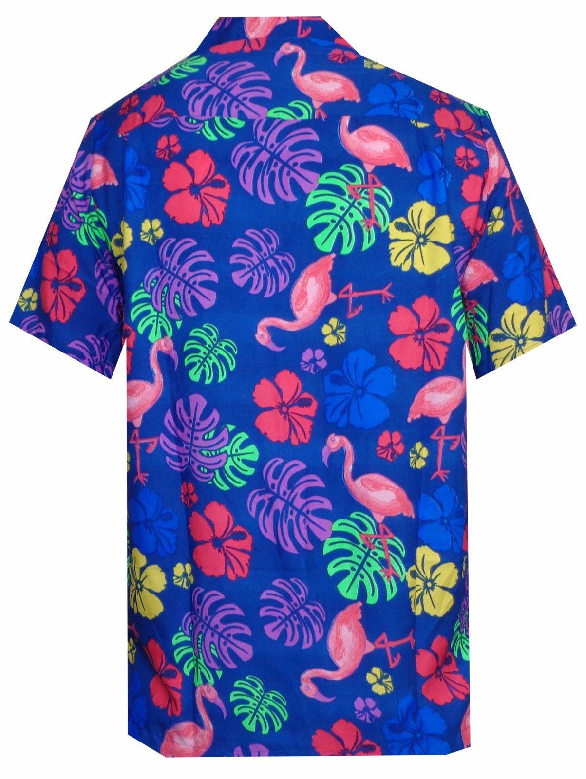 Hawaiian-Shirt-Mens-Flamingo-Leaf-Print-Beach-Aloha-Party-Holiday-Camp thumbnail 18