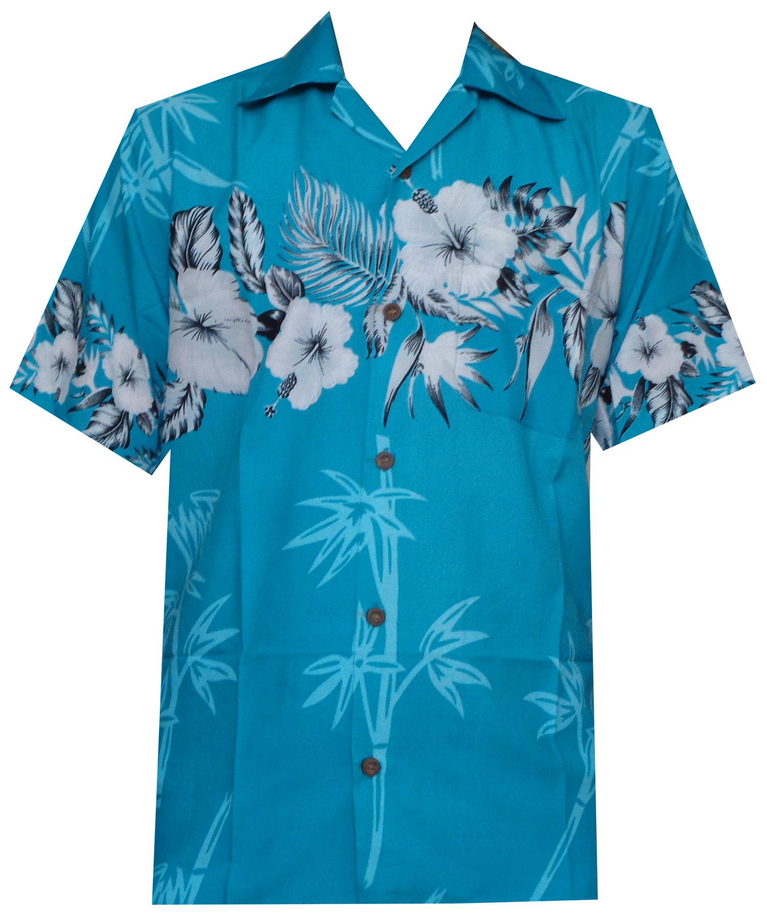 Hawaiian-Shirts-Mens-Bamboo-Tree-Print-Beach-Aloha-Party-Holiday thumbnail 17