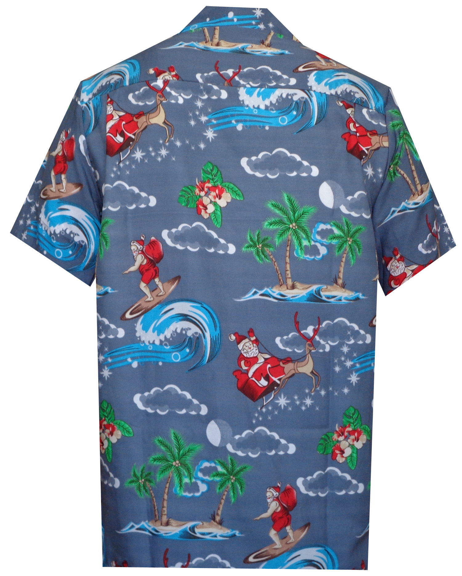 dfcbf356d Hawaiian Shirt Mens Christmas Santa Claus Party Aloha Holiday Beach ...