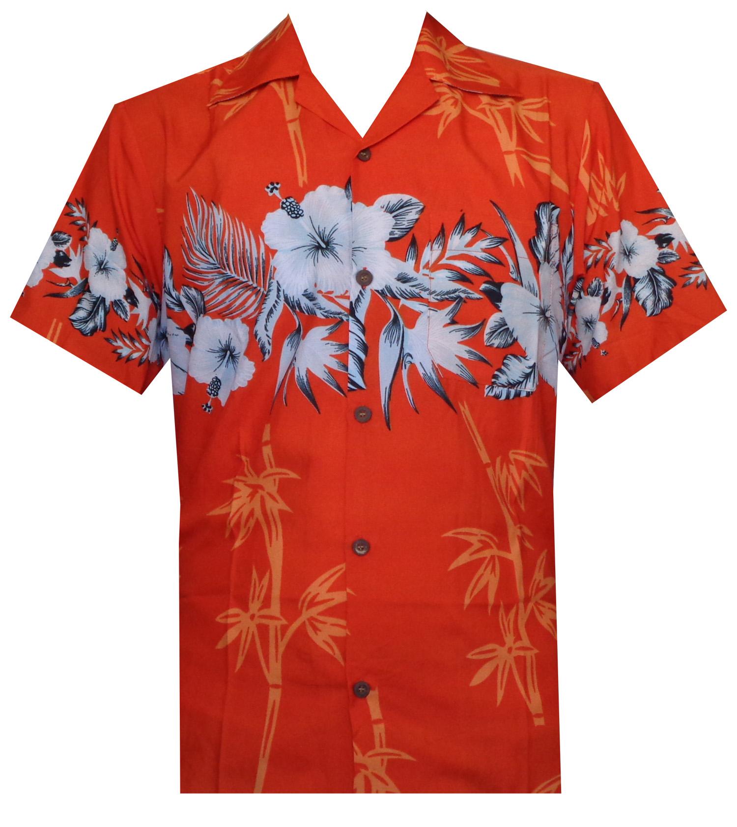 Hawaiian-Shirts-Mens-Bamboo-Tree-Print-Beach-Aloha-Party-Holiday thumbnail 3