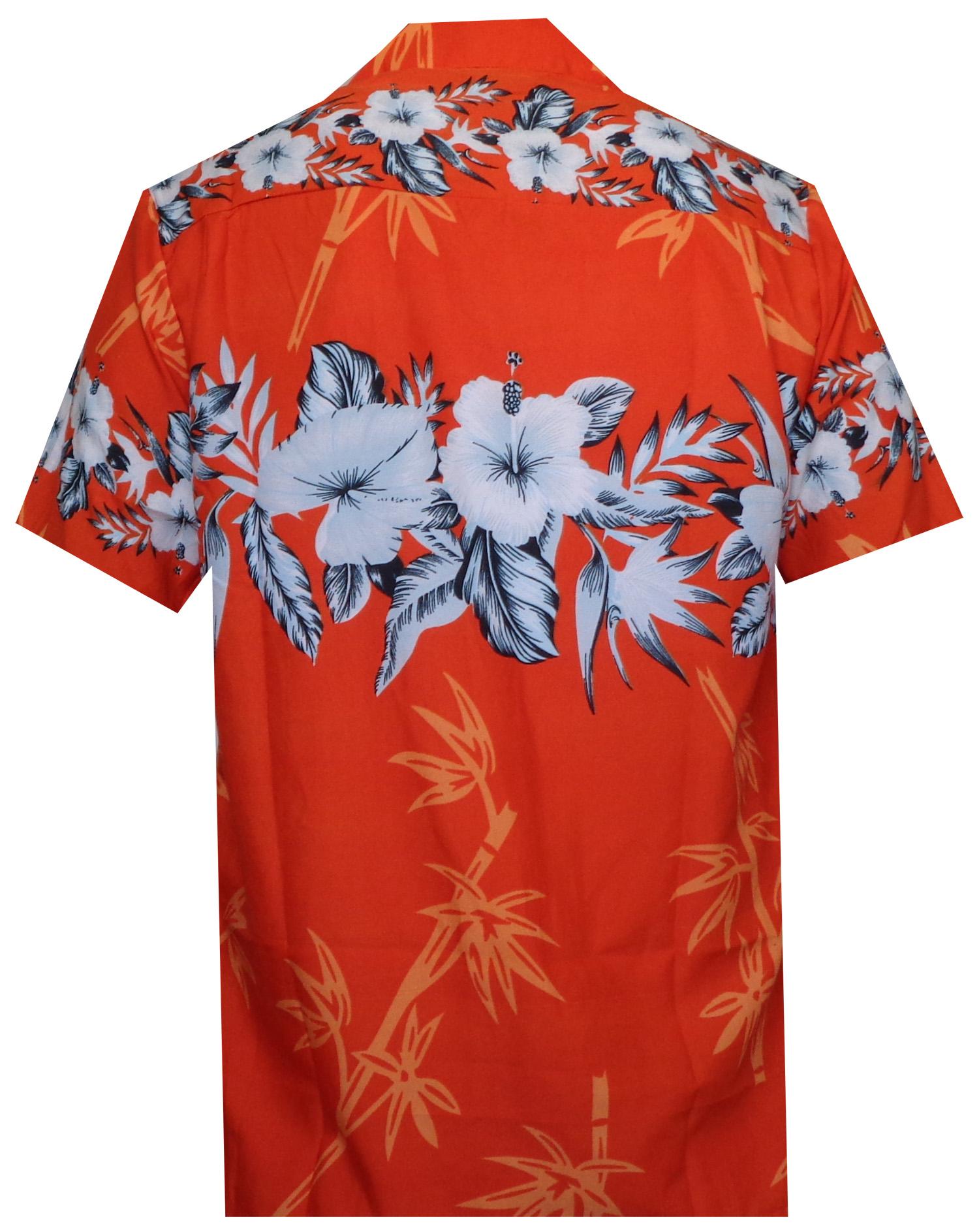 Hawaiian-Shirts-Mens-Bamboo-Tree-Print-Beach-Aloha-Party-Holiday thumbnail 4