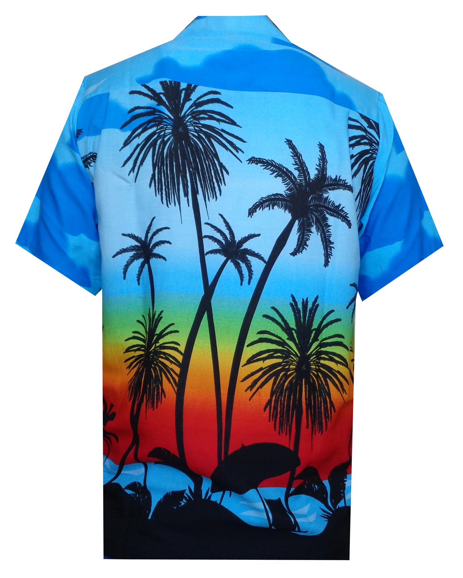Hawaiian-Shirt-5-Mens-Allover-Coconut-Tree-Print-Beach-Aloha-Party thumbnail 14