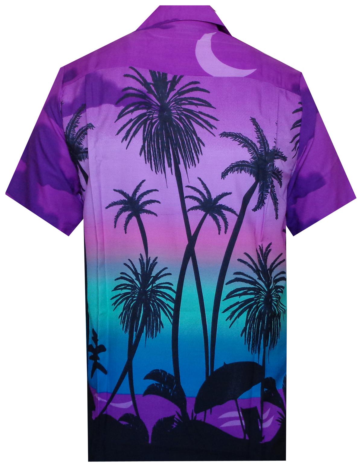 Hawaiian Mens shirt beach coconut tree print party vacation tropical casual