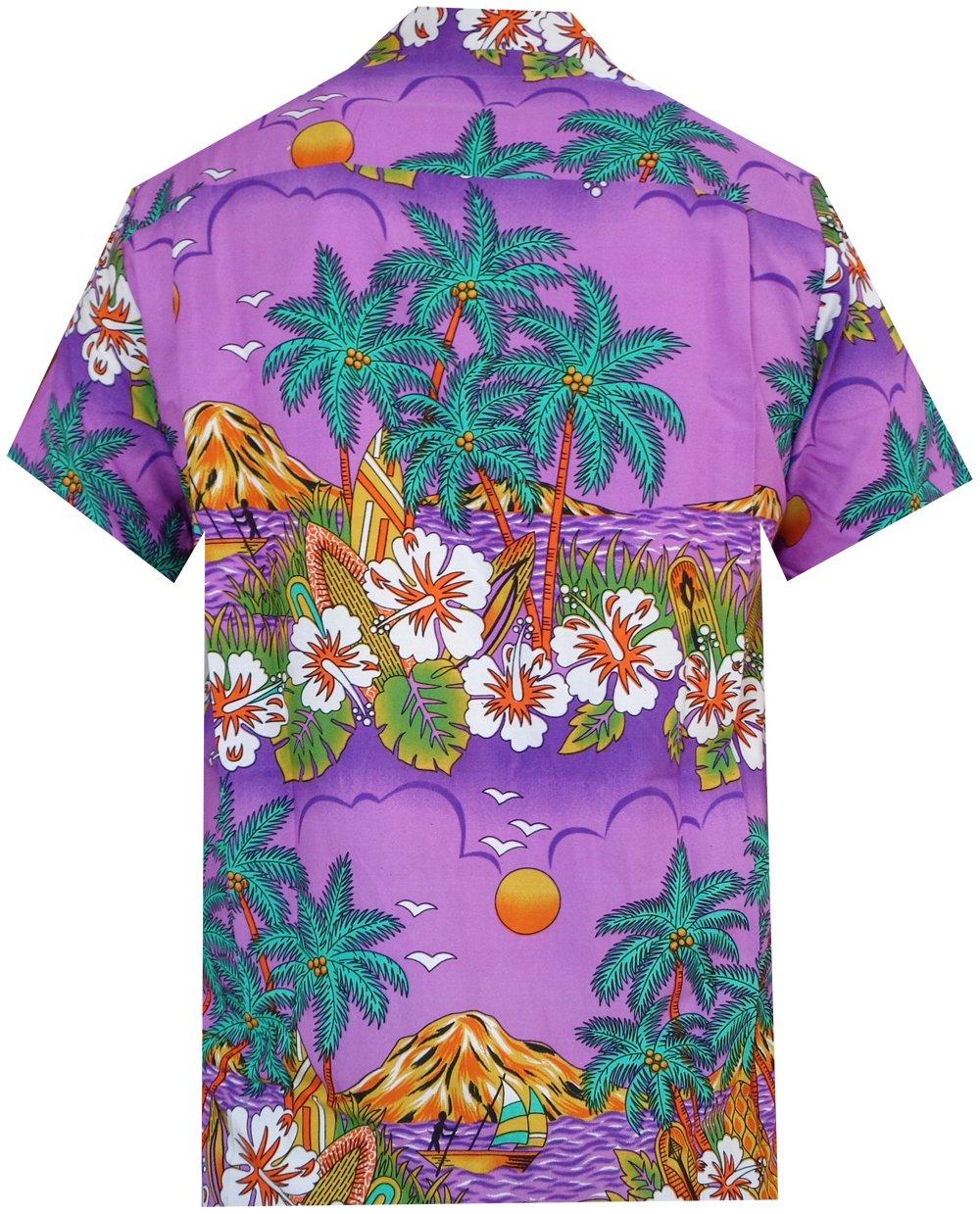 Hawaiian-Shirts-Mens-Floral-Scenic-Beach-Aloha-Party-Camp-Short-Sleeve-Holiday thumbnail 8