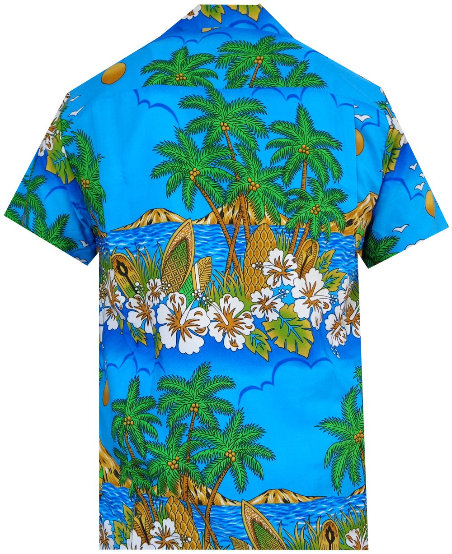Hawaiian-Shirts-Mens-Floral-Scenic-Beach-Aloha-Party-Camp-Short-Sleeve-Holiday thumbnail 11
