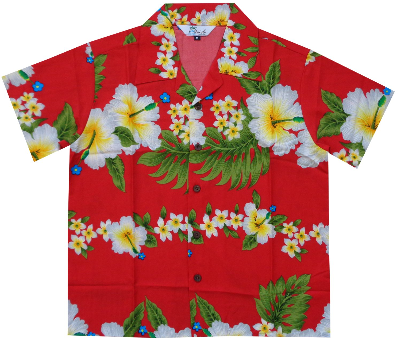 Alvish Hawaiian Shirts Boys Hibiscus Flower Print Beach Aloha Party