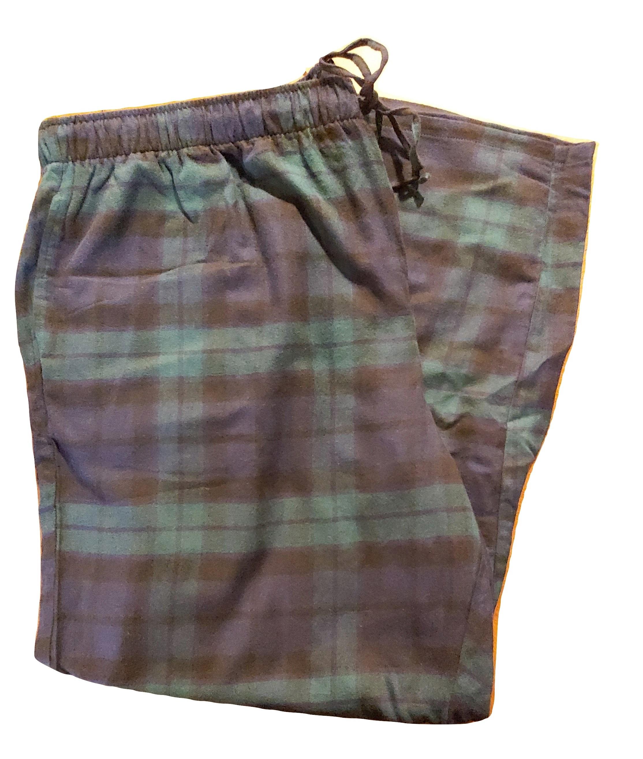 Wisconsin Plaid Lands End Men/'s Flannel Pajama Lounge Pants Drawstring NWOT