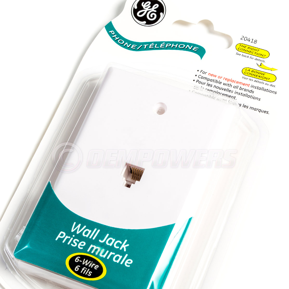 GE Phone Jack Wall Mount Plate Telephone Outlet 6-Wire Conductor ...