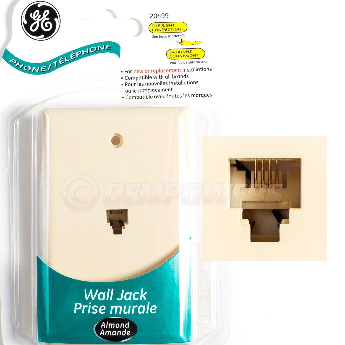 Details about GE Phone Jack Wall Mount Plate Telephone Outlet 4-Wire on