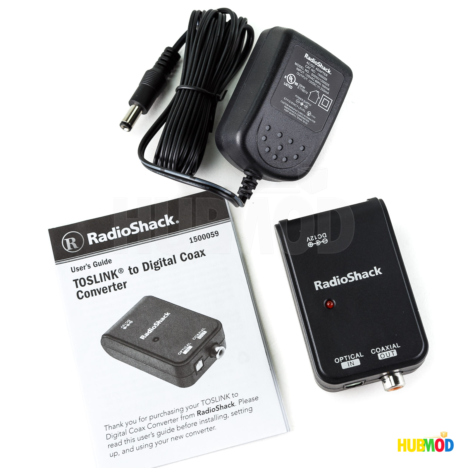 Radio Shack Toslink to Digital Coax Converter with AC Adapter - Enables you  to connect a home theater component with a digital optical audio output jack  to ...