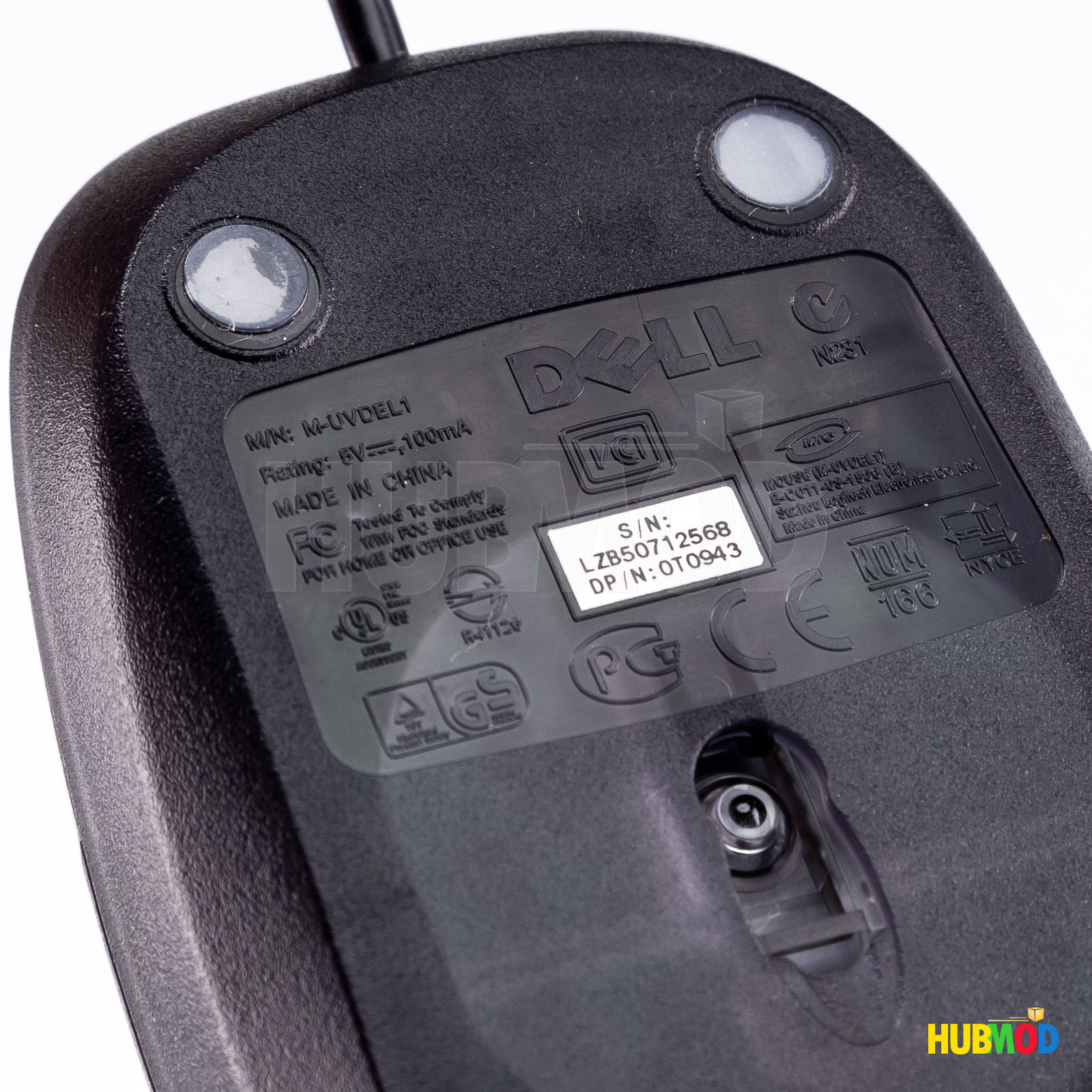 LOT of 2 Pack DELL 3 Button Optical USB Wired Mouse with Scroll Wheel M-UVDEL1