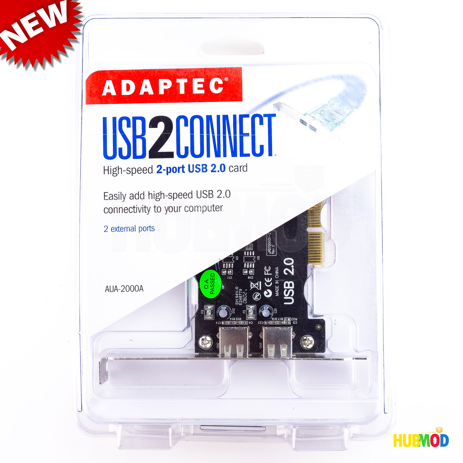 Adaptec AUA-2000 USB 2 Connect 2-Port USB PCI Card Expansion for PC /& MAC NEW