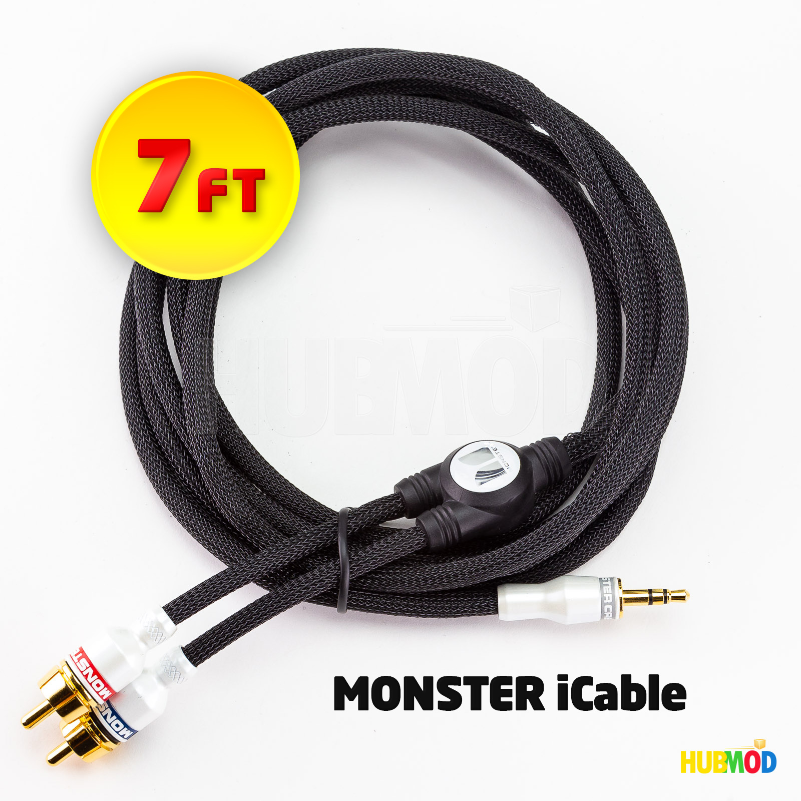 pick up 33226 d3e37 Details about MONSTER iCable 7' Ft Cable 3.5mm Audio Mini to RCA Stereo for  iPod iPhone Mac