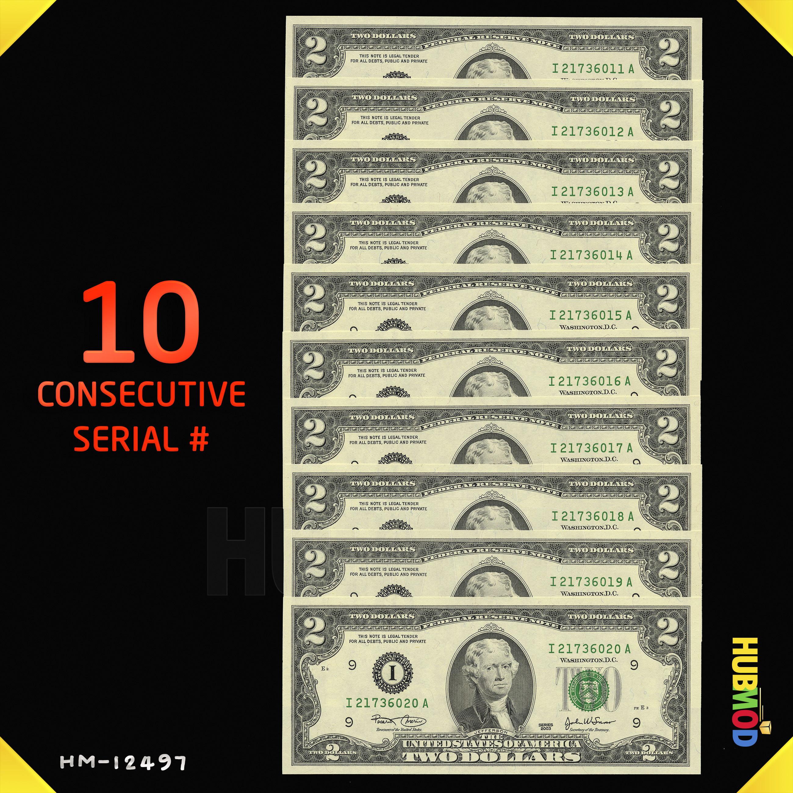 Details about 10 2003 $2 Two Dollar Bill Minneapolis Notes consecutive  Serial numbers 6011-20