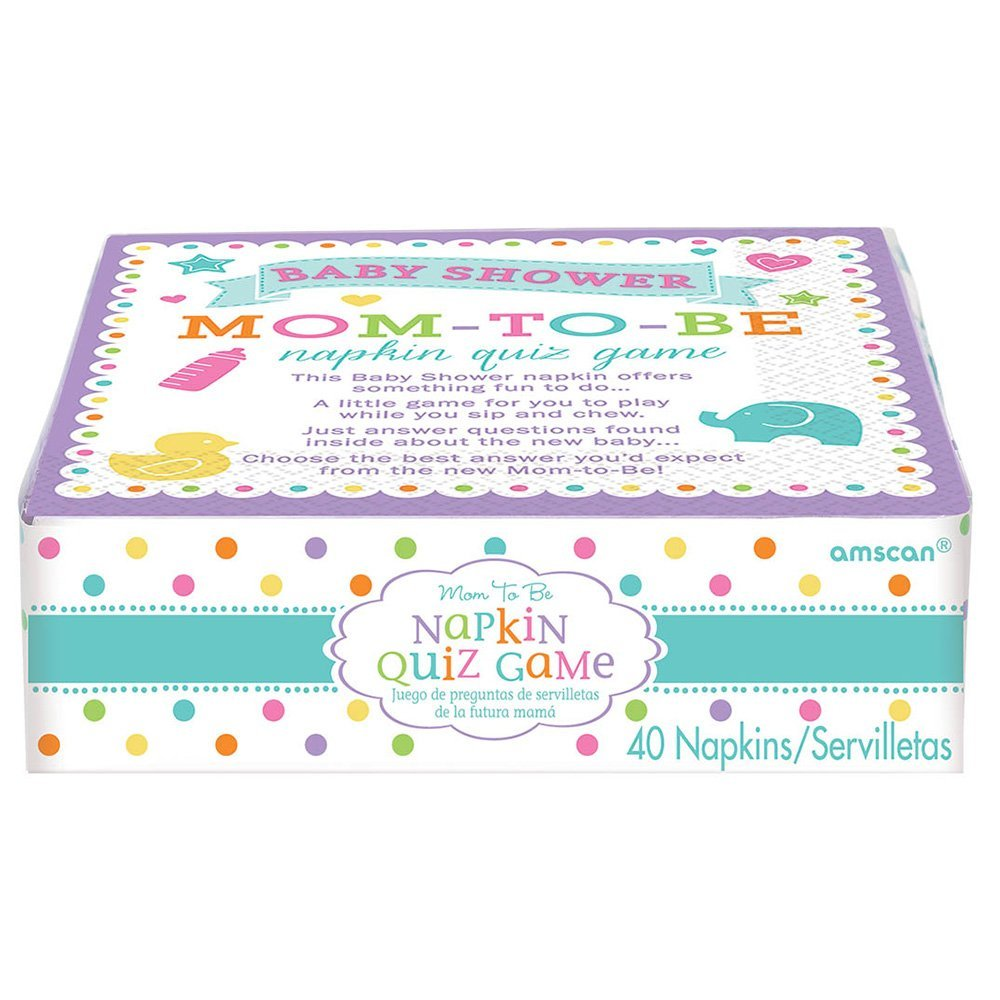 mom to be baby shower napkin trivia quiz game 40 count 13051611439