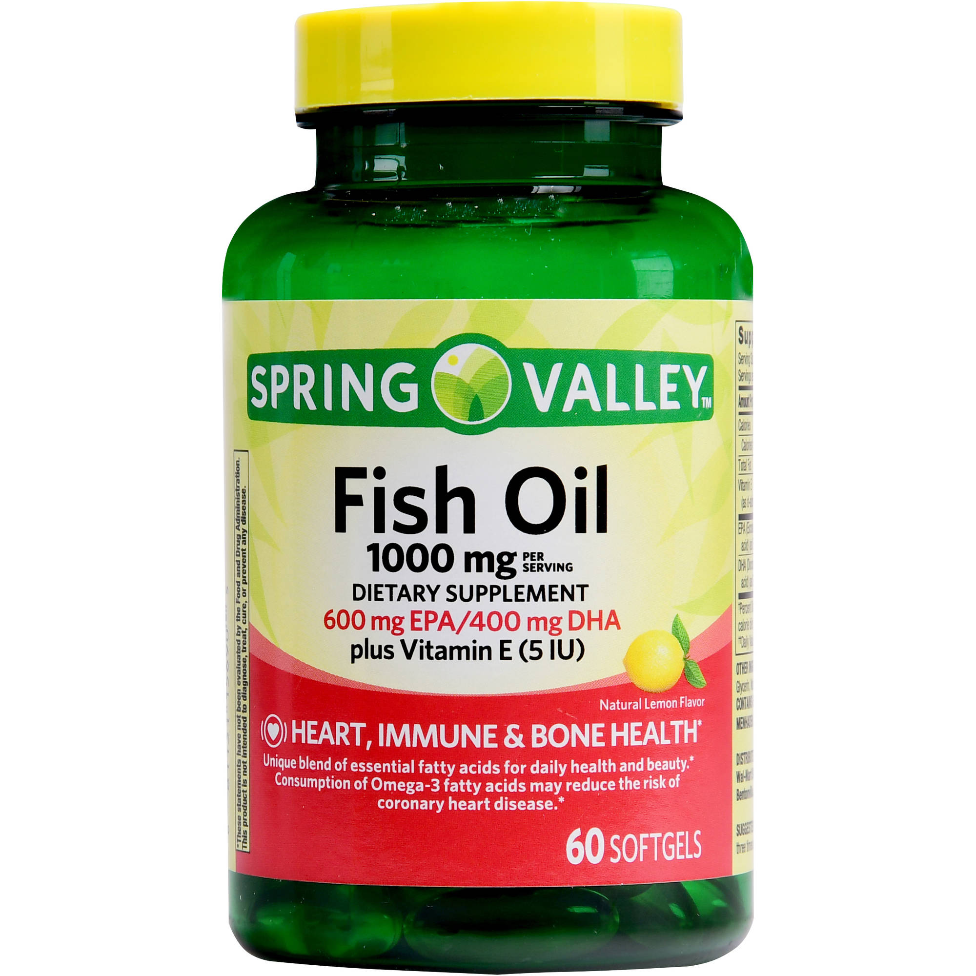 Spring valley fish oil 1000 mg 600 mg epa 400 mg dha plus for Fish oil 1000 mg