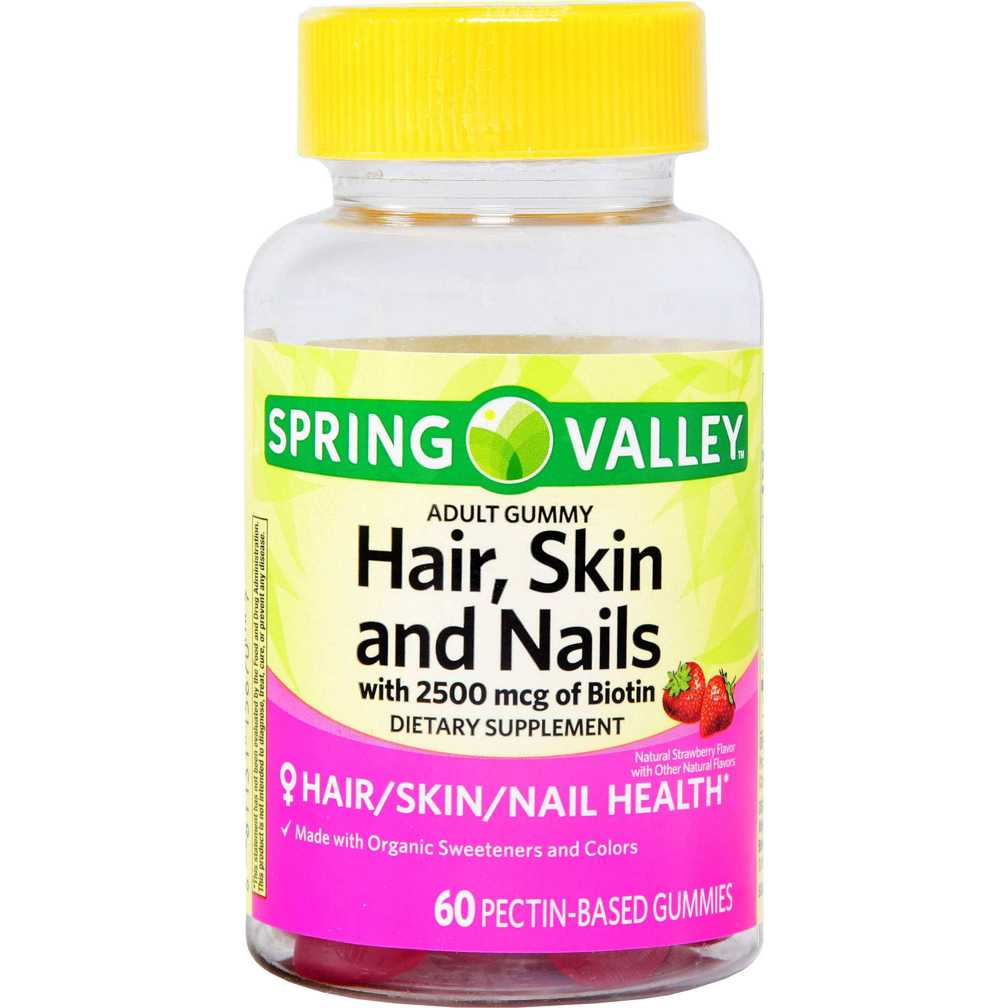 Spring Valley Adult Gummy Hair, Skin & Nails 2500 mcg of Biotin 60 ...