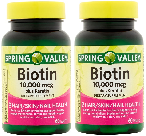 2pk Spring Valley Biotin Dietary Supplement 10,000 Mg With 100 Mg ...