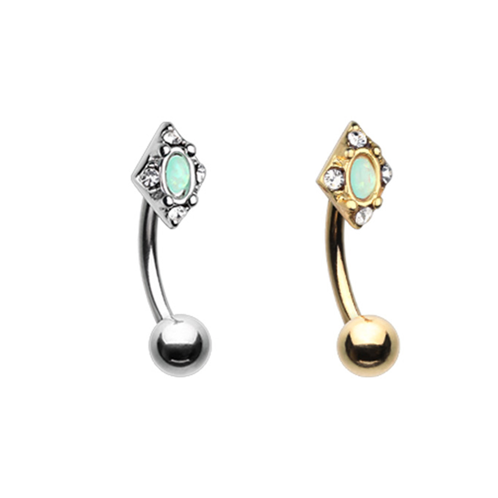 Diamond Ornate Curved Barbell Eyebrow Ring