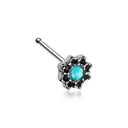Golden Tao Filigree Opal Sparkle Nose Stud Ring 316L Surgical Steel