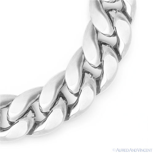 15mm-Thick-Cuban-Curb-Link-Italian-Chain-Bracelet-in-925-Italy-Sterling-Silver thumbnail 3