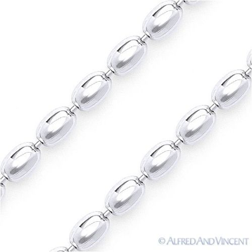 2.9mm Oval Bead Link Italian Chain Necklace in Solid Italy .925 Sterling Silver