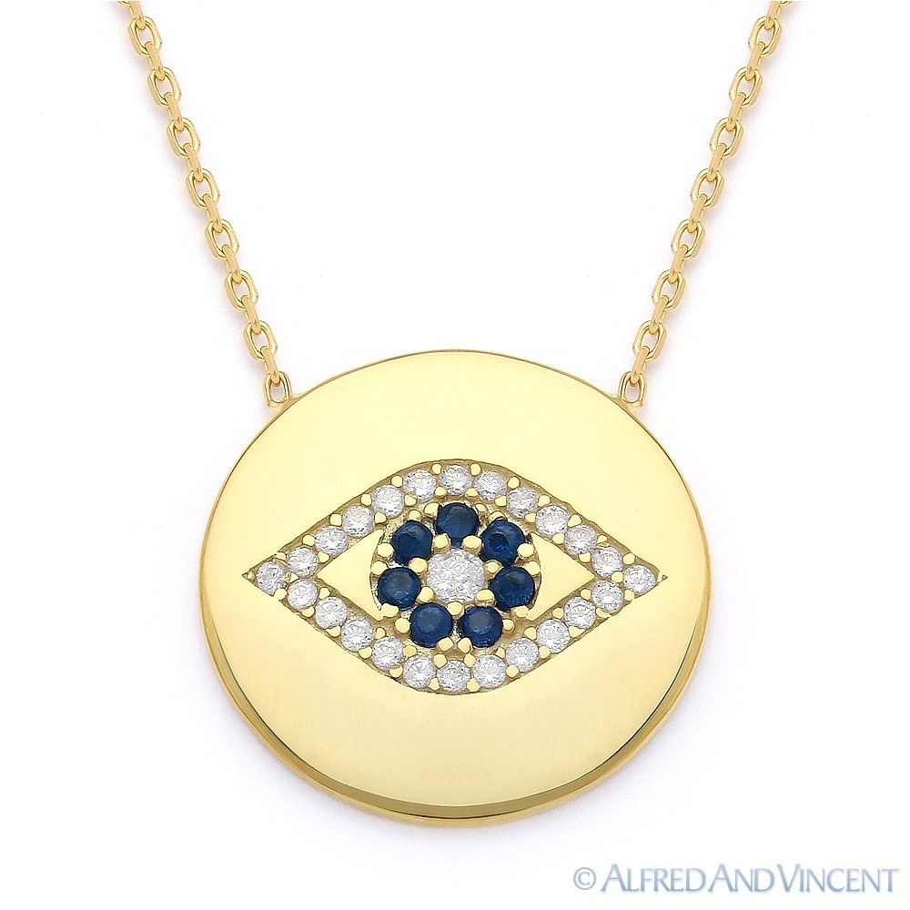 Evil-Eye-CZ-Turkish-Nazar-Greek-Charm-Circle-Necklace-Pendant-in-Sterling-Silver