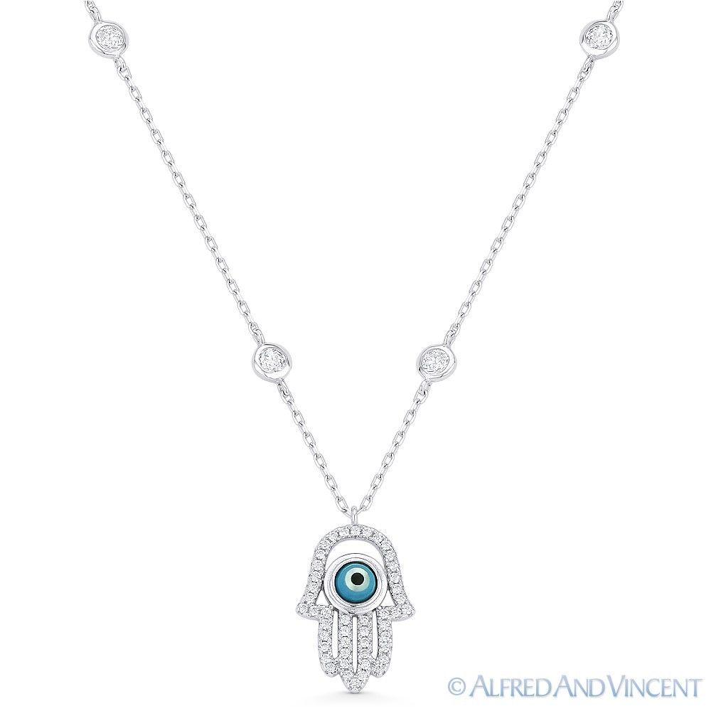 Hamsa-Hand-of-Fatima-Evil-Eye-Pendant-925-Sterling-Silver-amp-CZ-Bezel-Necklace thumbnail 3