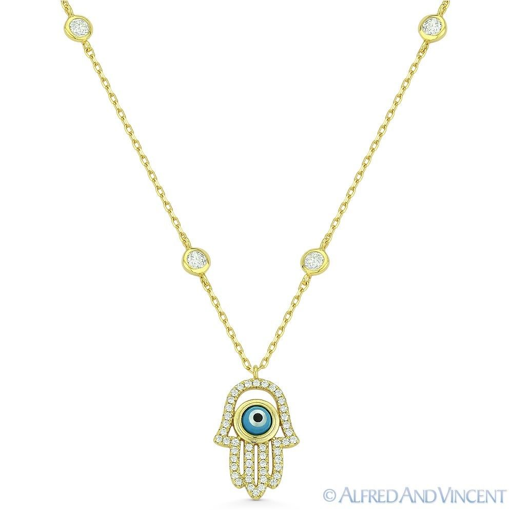 Hamsa-Hand-of-Fatima-Evil-Eye-Pendant-925-Sterling-Silver-amp-CZ-Bezel-Necklace thumbnail 5