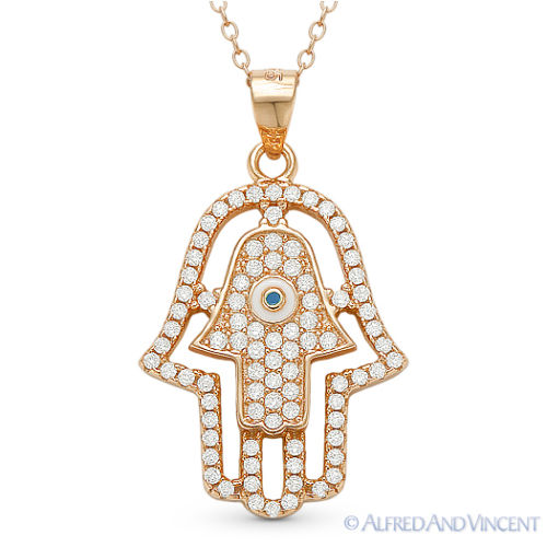 Double-Hamsa-Hand-of-Fatima-Evil-Eye-Luck-Charm-Pendant-Necklace-Sterling-Silver thumbnail 2