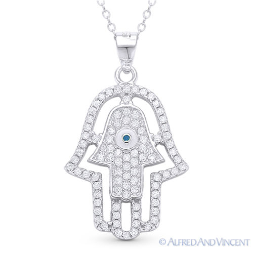 Double-Hamsa-Hand-of-Fatima-Evil-Eye-Luck-Charm-Pendant-Necklace-Sterling-Silver thumbnail 3