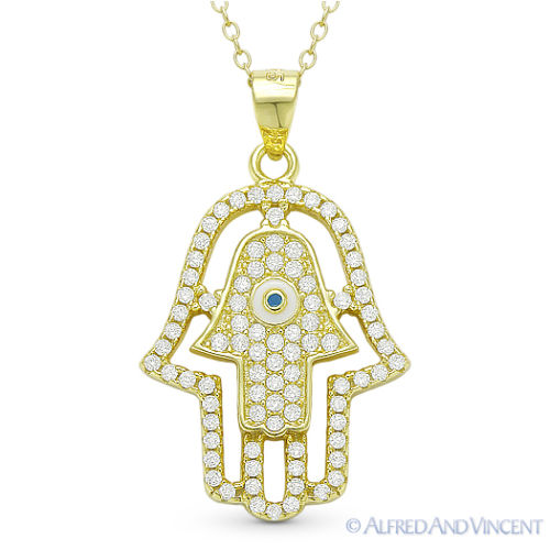 Double-Hamsa-Hand-of-Fatima-Evil-Eye-Luck-Charm-Pendant-Necklace-Sterling-Silver thumbnail 4