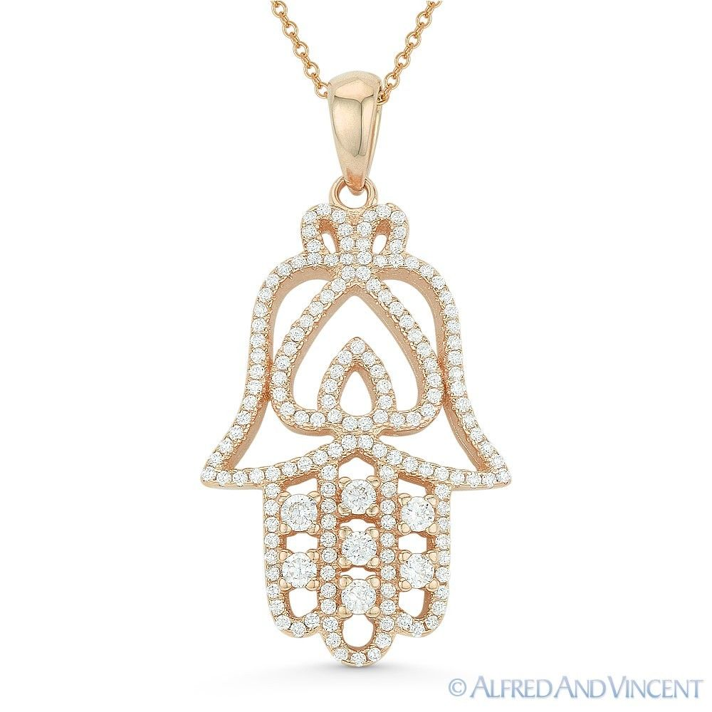 Hamsa-Hand-of-Fatima-amp-Spade-Luck-Charm-925-Sterling-Silver-Pendant-amp-Necklace thumbnail 2