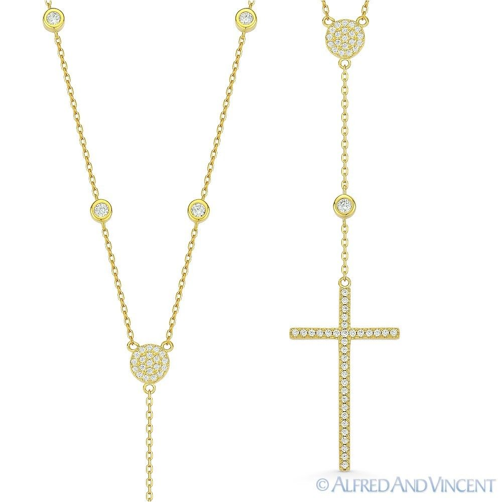 Cross-Crucifix-CZ-Crystal-925-Sterling-Silver-Pendant-amp-Catholic-Rosary-Necklace