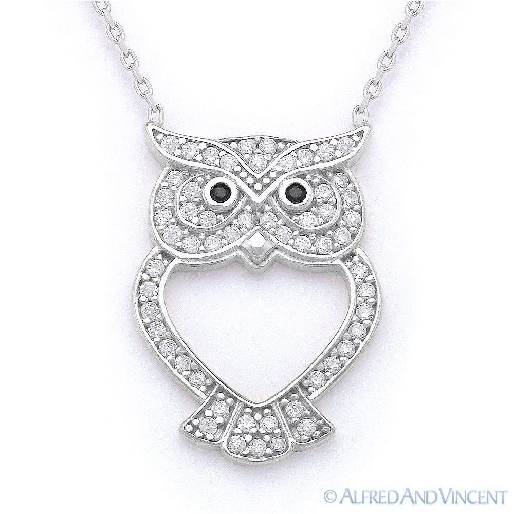 .925 Sterling Silver Black /& White CZ Owl Charm Pendant