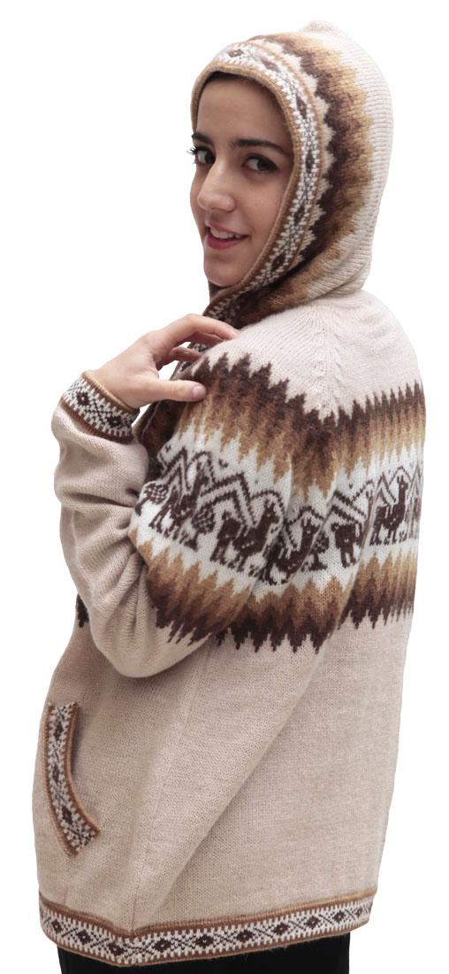 Little-Llamas-Hooded-Alpaca-Wool-Knitted-Jacket-Hoodie-Sweater thumbnail 67