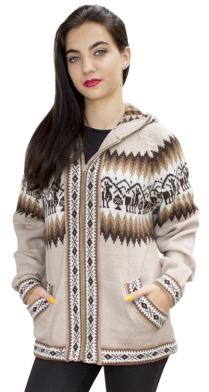Little-Llamas-Hooded-Alpaca-Wool-Knitted-Jacket-Hoodie-Sweater thumbnail 73
