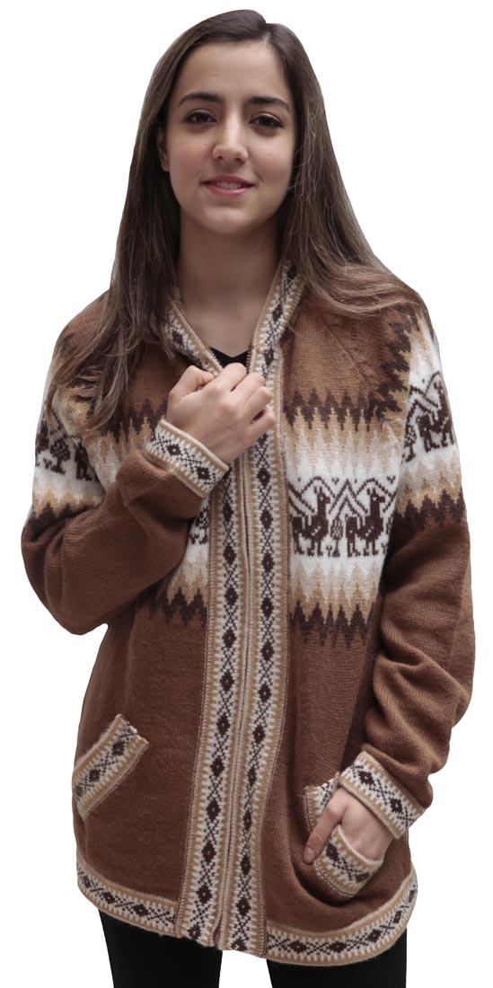Little-Llamas-Hooded-Alpaca-Wool-Knitted-Jacket-Hoodie-Sweater thumbnail 49