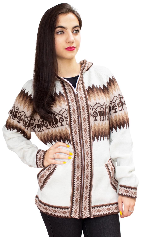 Little-Llamas-Hooded-Alpaca-Wool-Knitted-Jacket-Hoodie-Sweater thumbnail 60