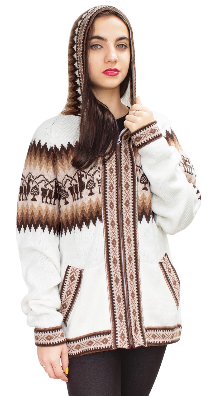 Little-Llamas-Hooded-Alpaca-Wool-Knitted-Jacket-Hoodie-Sweater thumbnail 61