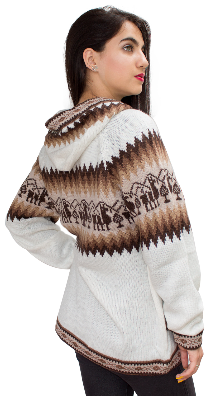 Little-Llamas-Hooded-Alpaca-Wool-Knitted-Jacket-Hoodie-Sweater thumbnail 58