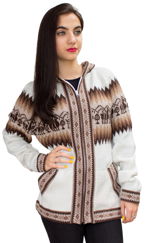 Little-Llamas-Hooded-Alpaca-Wool-Knitted-Jacket-Hoodie-Sweater thumbnail 57