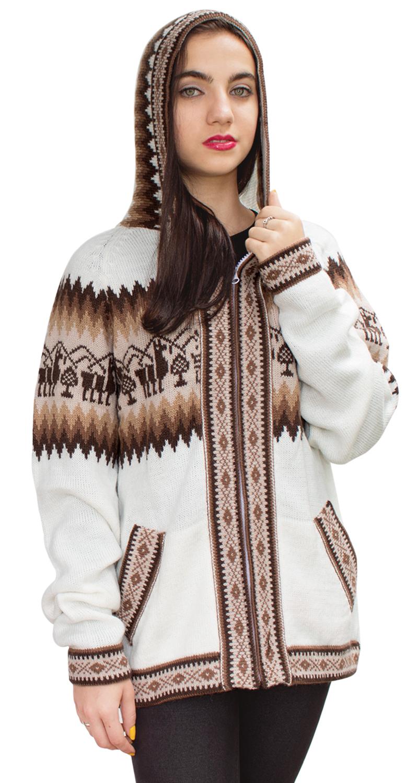 Little-Llamas-Hooded-Alpaca-Wool-Knitted-Jacket-Hoodie-Sweater thumbnail 56