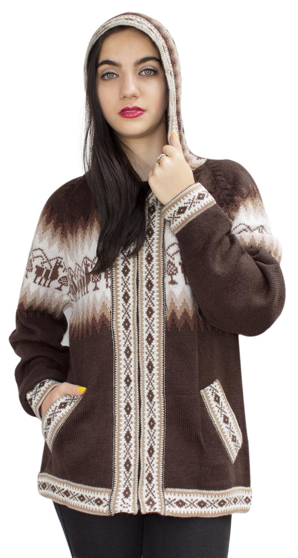 Little-Llamas-Hooded-Alpaca-Wool-Knitted-Jacket-Hoodie-Sweater thumbnail 29