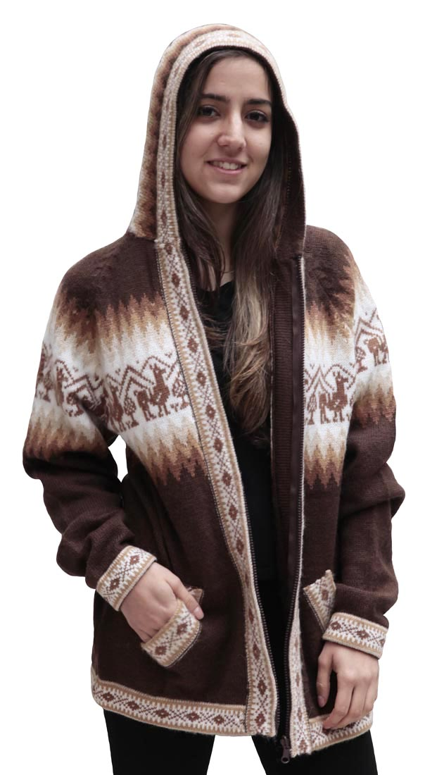 Little-Llamas-Hooded-Alpaca-Wool-Knitted-Jacket-Hoodie-Sweater thumbnail 34
