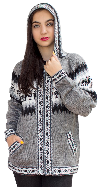 Little-Llamas-Hooded-Alpaca-Wool-Knitted-Jacket-Hoodie-Sweater thumbnail 26