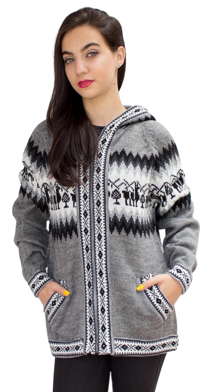 Little-Llamas-Hooded-Alpaca-Wool-Knitted-Jacket-Hoodie-Sweater thumbnail 20